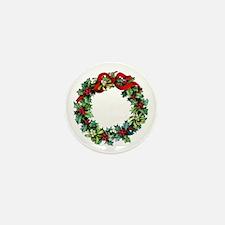 Holly Christmas Wreath Mini Button (100 pack)