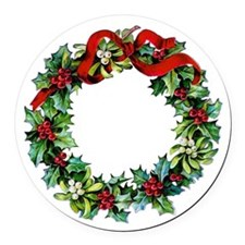 Holly Christmas Wreath Round Car Magnet