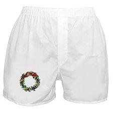 Holly Christmas Wreath Boxer Shorts