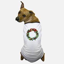 Holly Christmas Wreath Dog T-Shirt