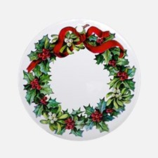 Holly Christmas Wreath Ornament (Round)