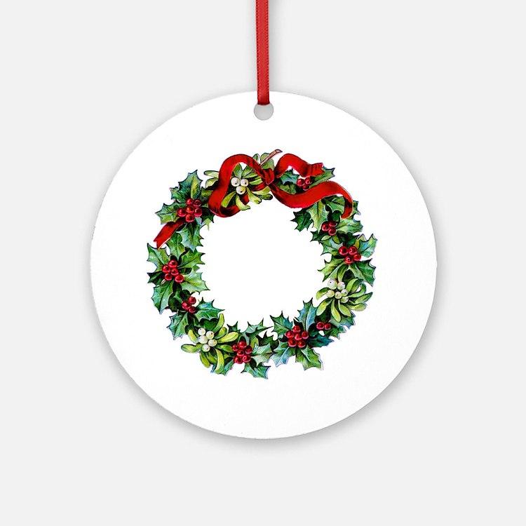 Holly Christmas Wreath Ornament (Round)