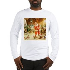 Santa in the North Pole Stable Long Sleeve T-Shirt
