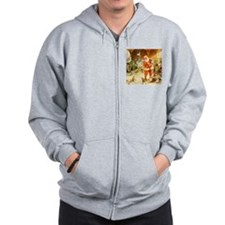 Santa in the North Pole Stables Zip Hoodie