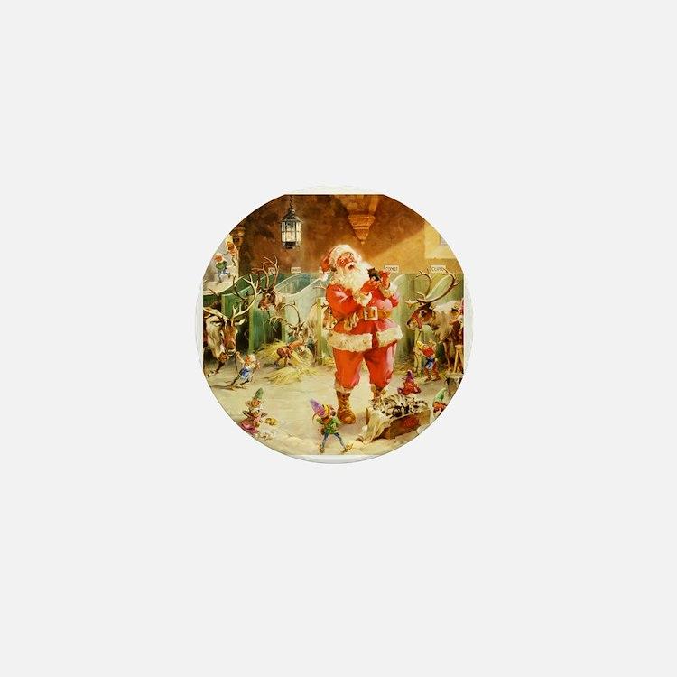 Santa in the North Pole Stables Mini Button