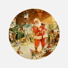 """Santa in the North Pole Stables 3.5"""" Button"""