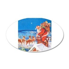 Santa Up On the Rooftop Wall Decal