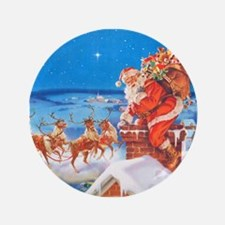 "Santa Up On the Rooftop 3.5"" Button (100 pack)"