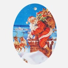 Santa Up On the Rooftop Ornament (Oval)