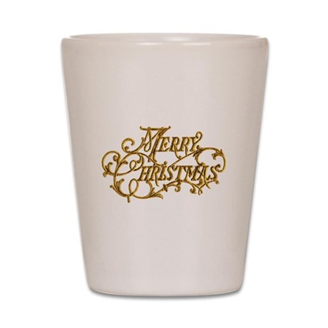 Merry Christmas In Gold Shot Glass