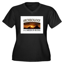 ARCHEOLOGY Women's Plus Size V-Neck Dark T-Shirt