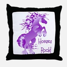 Horses Rock- Purple Throw Pillow