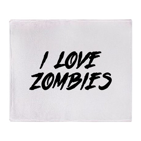 I Love Zombies Throw Blanket