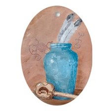 Blue Vase w/Rattle Oval Ornament