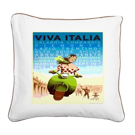 Viva Italy Travel Poster Square Canvas Pillow