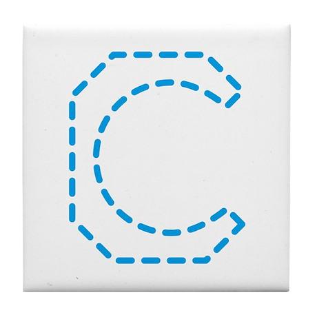 Letter C _ Cyan Tile Coaster