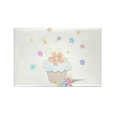 Cupcakes and Flowers Rectangle Magnet