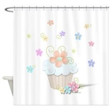 Cupcakes and Flowers Shower Curtain
