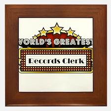 World's Greatest Records Clerk Framed Tile