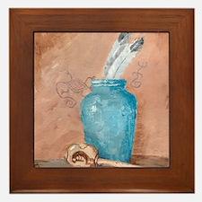 Blue Vase w/Rattle Framed Tile