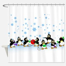 Penguin Band Shower Curtain