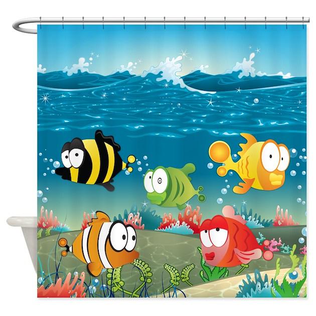 Cute fun fish shower curtain by stargazerdesign for Fish shower curtains