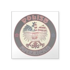 "Polish American Eagle Square Sticker 3"" x 3&q"