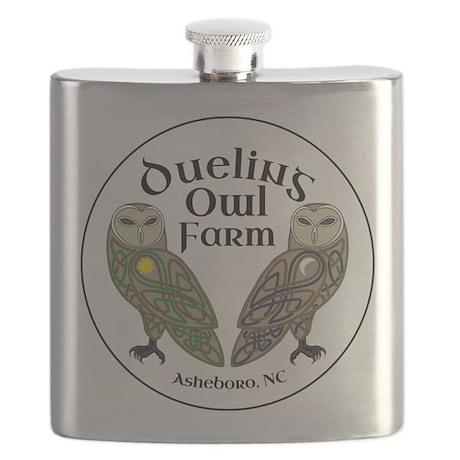 Dueling Owl Farm Logo Flask