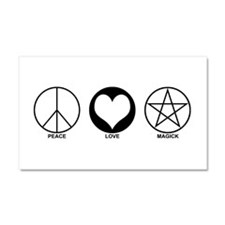 Peace Love and Magick on light Car Magnet 20 x 12