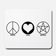 Peace Love and Magick on light Mousepad