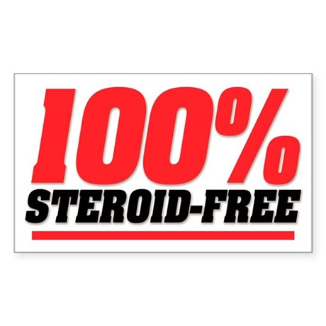 100% STEROID FREE Rectangle Sticker