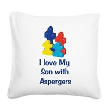 Love Aspergers Son Square Canvas Pillow