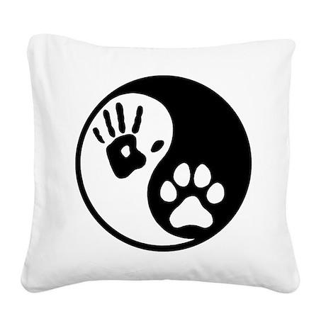 Human & Dog Yin Yang Square Canvas Pillow