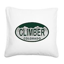 Climber Colo License Plate Square Canvas Pillow