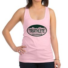 Triathlete Oval Colo License Plate Racerback Tank