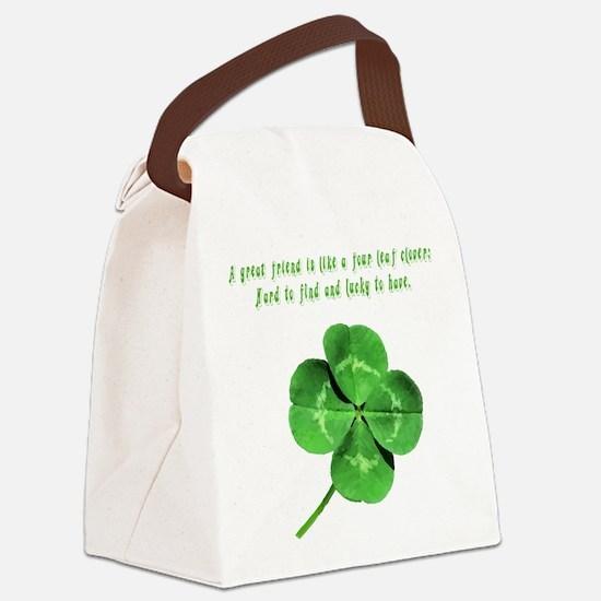 4leafcloverfriend.png Canvas Lunch Bag
