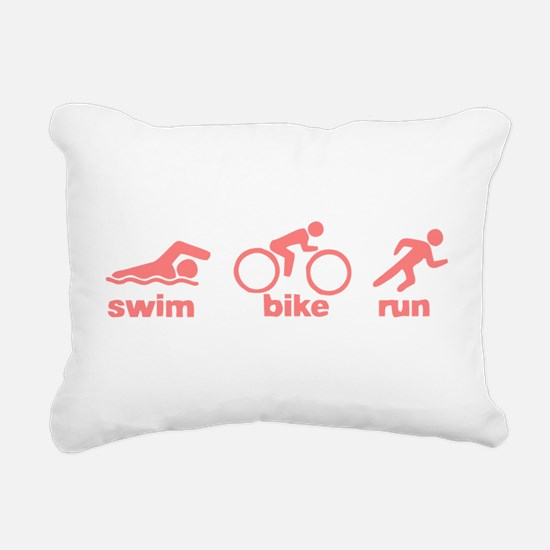 Swim Bike Run Rectangular Canvas Pillow