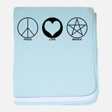 Peace Love and Magick on light baby blanket