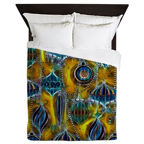 Blue Ornaments with a Yellow Glow Queen Duvet