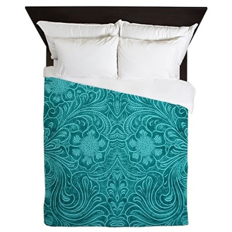 Leather Floral Turquoise Queen Duvet