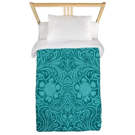 Leather Floral Turquoise Twin Duvet