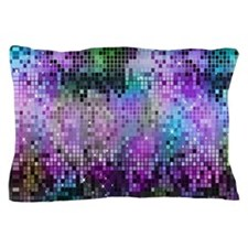 Disco Mirrors in Purple and Green Pillow Case