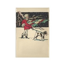 fox terrier holiday Rectangle Magnet