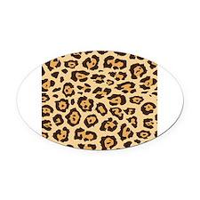 Leopard Animal Print Oval Car Magnet