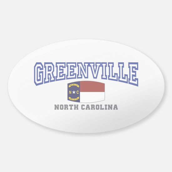 Greenville, North Carolina, NC, USA Sticker (Oval)