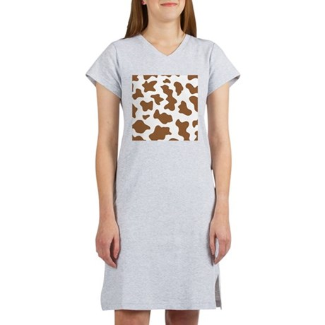 Brown Cow Animal Print Women's Nightshirt
