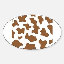 Brown Cow Animal Print Sticker (Oval)