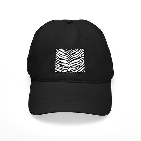 White Tiger Animal Print Black Cap