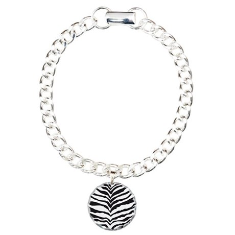 White Tiger Animal Print Charm Bracelet, One Charm