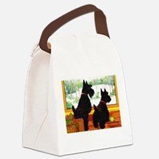 A Scotty Dog Christmas Canvas Lunch Bag